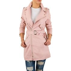 27,99 € - Trendiger Kurzmantel im Biker-Stil. Die lange Jacke aus weichem Kunstleder schließt mit asymmetrischem Reißverschluss. Praktischer Taillengürtel und Eingrifftaschen.