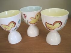 3 Vintage Chicken Chicks Pottery Egg Cups Japan | eBay