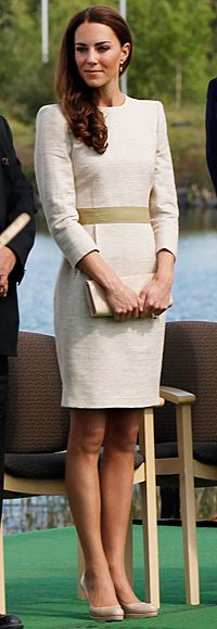 Duchess Catherine's   For her visit to Yellowknife, Northwest Territories, Canada, the Duchess of Cambridge chose a linen beige dress with a contrasting waistband from By Malene Birger's collection, which she paired with a nude clutch and her LK Bennett heels. July, Canada
