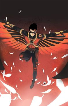 "hammling: ""Old commission of Tim Drake, Red Robin Illustration by Rice Ball "" Nightwing, Batwoman, Batgirl, Tim Drake Red Robin, Robin Dc, Batman Robin, Gotham Batman, Damian Wayne, Red Hood"