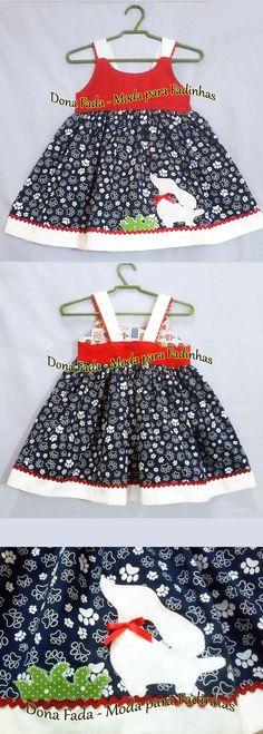 Vestido Patinhas   - 12/18 meses  ______________baby - infant - toddler - kids - clothes for girls - - - https://www.facebook.com/dona.fada.moda.para.fadinhas/