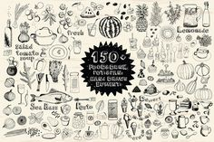 150+ Hand drawn elements Food&Drink by Nenilkime on @creativemarket