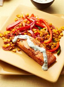 Chili Roasted Salmon with Cilantro Cream is a healthy and divine dinner!   fitness magazine