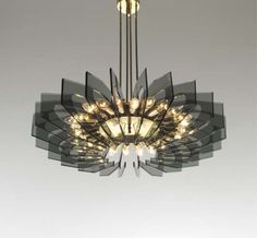 Anonymous; Glass and Brass Ceiling Light by Fontana Arte, 1950s.