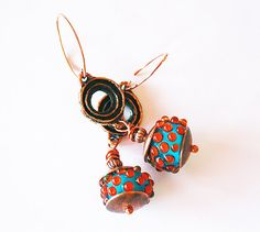 Earrings  Lampwork Glass beads Copper and by BritanikaJewelry, $44.00