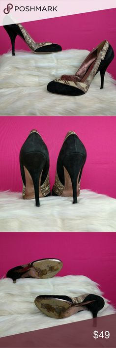 Miu Miu size 38 heels These cute Miu Miu heels are a size 38. The uppers are suede with a snake print trim. The suede uppers shows a little wear but they are still in good condition. Miu Miu Shoes Heels