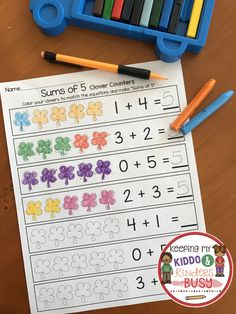 Sums of 5 Shamrocks! Love this addition practice in March - helps students become fluent with adding.