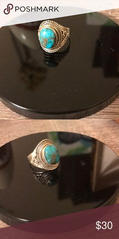 Turquoise Sterling Silver Ring Size 7. Real sterling silver. From India. Jewelry Rings