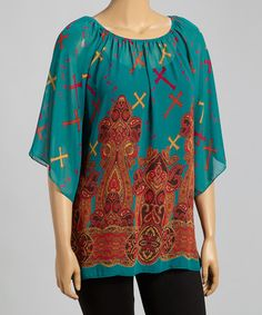 Another great find on #zulily! Teal Cross Cape-Sleeve Tunic - Plus by R Rouge #zulilyfinds