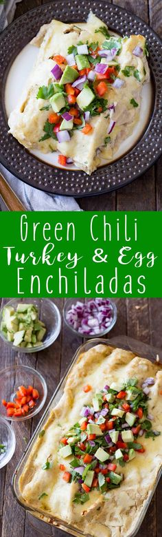 Creamy Green Chili Turkey & Egg Enchiladas are the perfect way to use leftover turkey - #ad #ohiotalksturkey