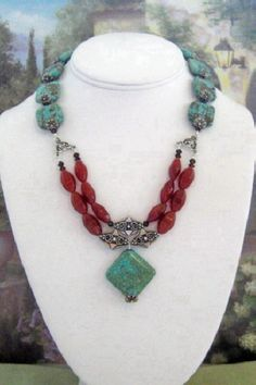 Turquoise and Carnelian Necklace  T27  SALE 10 by dkdesigns8238, $22.50