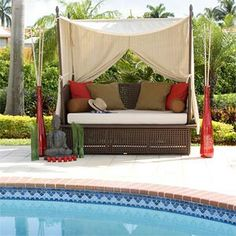 Poolside couch / bed / lounge with canopy for shade