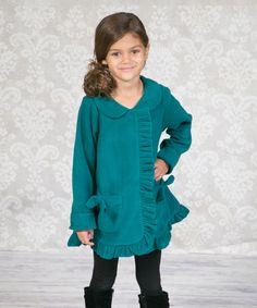 10b310c363 This Teal Shelby Ruffle Fleece Coat - Infant
