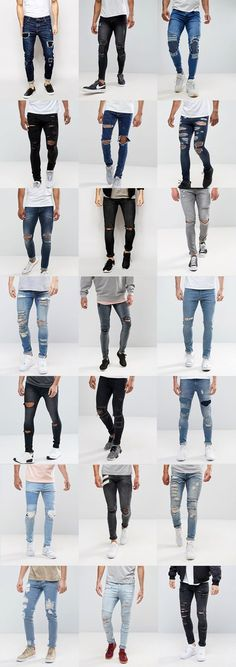 21 Super Skinny Jeans With Rips for Guys Moda Formal, Jeans Outfit Summer, Shirt Outfit, Style Masculin, Stylish Boys, Super Skinny Jeans, Mens Fashion, Fashion Outfits, Men Dress