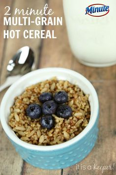 This 2 minute multi-grain hot cereal is a quick and easy breakfast recipe. AD CelebrateMinuteRiceSweepstakes
