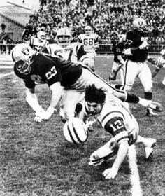 "Ben Davidson taking Joe Namath's head off. Great play that probably would get him fined today as we strive to take the ""football"" out of football."