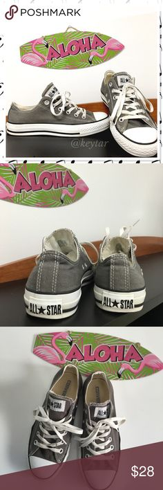 Gray Converse All-Star Low Top Chucks Converse All-Star low tops. Classic style gray Chucks. EUC, clean with minor wear. Please look at pictures and ask questions. Everyone needs a pair of Converse in their wardrobe!  ⚡️Womans size 7  Men's size 5 ❌ trades ❌ lowballs offer button  Bundle 2 or more items and save 10% Converse Shoes Sneakers