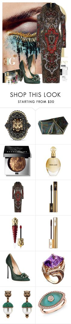 """""""Queen of Dust"""" by eleonoragocevska ❤ liked on Polyvore featuring Gucci, Rafe, Bobbi Brown Cosmetics, Roberto Cavalli, Balmain, Yves Saint Laurent, Christian Louboutin, Chanel, Casadei and LALI Jewels"""