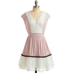 Gauze and Dolls Dress (1.015 ARS) ❤ liked on Polyvore featuring dresses, modcloth, vestidos, doll dress, rouched dress, tie waist dress, stretchy dresses and gathered dress