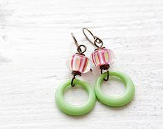 Handmade Pink Earrings Green Earrings Lampwork by MeMadeJewels, $39.00