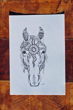 Gypsy horse horse head native american horse by artbyadren on Etsy