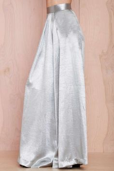 Wide-Leg Silver Trousers - love this as an alternative to a cocktail dress