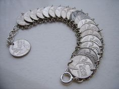 Coin jewelry Penny Jewelry, Coin Jewelry, Metal Jewelry, Coins, Beads, Bracelets, Silver, Crafts, Dyi
