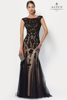 Alyce Paris Swiss dot tulle gown with a lace ombre design, short capped sleeves and a small keyhole midback. Mother Of The Bride Dresses Long, Mothers Dresses, Tulle Gown, Lace Dress, Dress Long, Mob Dresses, Bridesmaid Dresses, Paris Dresses, Formal Gowns
