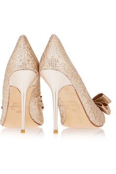 Lucy Choi London Rose bow-embellished glitter-finished pumps