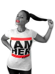 """I AM HER"" Women's DMC Inspired Fitted Tee: Be Bold, Daring and Fearless!   To all the ladies in the place with style and grace! I AM HER Apparel is for the girl who knows who she is, who knows who she is called to be and is unapologetic about her style!. Women's DMC Inspired Fitted Tee sleeve to be worn fitted for stylish and fashionable fit."
