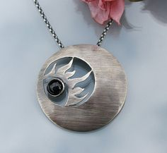Sterling Silver Sun Necklace with Black Onyx and patina