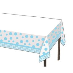 Light Blue Chevrons and Dots Printed Plastic Tablecover (1 ct)