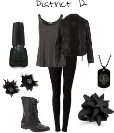 """""""District 12"""" by adisneygirl ❤ liked on Polyvore...or nico di angelo's girlfriend(which only exists in my mind....and might also be me:))"""