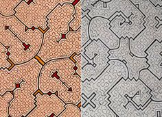 Shipibo textile designs    The intricate linear geometric and symmetrical artworks of the Shepibo Indians, a large tribe of the Peruvian Amazon, act as visual music maps – scores notating the chants and songs (Icaros) associated with Ayahasca healing ceremonies.  The textiles and embroidery, all crafted by women, contain recursive and self-reflective motifs, including geometric configurations common to those generated computationally by iterative functions.
