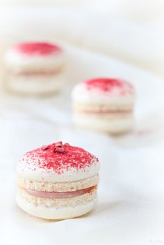 Macarons with a rose water and raspberry filling