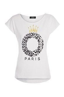 T-shirt blanc print léopard et couronne