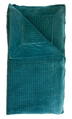 Velvet with Embroided Feature (Large 270x260cm) and Pillow Case x 2 (50x75cm)  Colour: Ocean  Early April Delivery