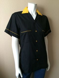 Vintage Apparel Women's 80's Bowling Shirt Black by Freshandswanky