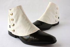 1920s Mens Accessories Mens Spats Ivory Ottoman - Dapper Men - Gaiters spats spatterdash $80.00 AT vintagedancer.com
