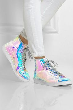 LOVE these! Nike Blazer Mid Iridescent faux leather high top sneakers. • Net-a-porter