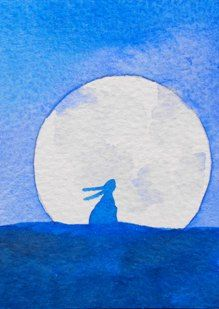 Moon Hare Original ACEO painting by WhispersOfMagic on Etsy, £12.50