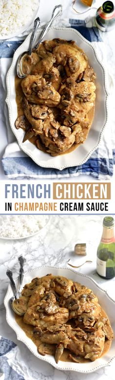 This Classic French Chicken in Champagne Cream Sauce is a perfect way to use leftover champagne (or sparkling wine) from the night before. Chic, easy, creamy, delicious! - Pardon your French