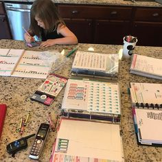 Playing #planner with my daughter Michaela !! She loves it and even asks me to break out all my #stickers !! #plannercommunity #plannerjunkie #planneraddict #thehappyplanner #erincondren #etsylove #etsy
