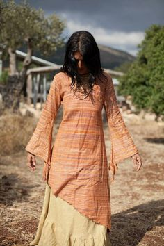 Primitive traibal craft Long Sleeves Fairy Dress - Khadi Cotton- different colors