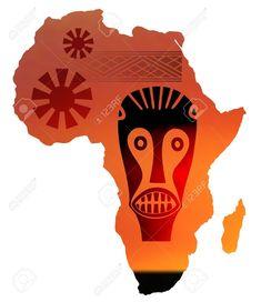 Ilustración De Mapa De África En Puesta De Sol Ilustraciones Vectoriales, Clip Art Vectorizado Libre De Derechos. Pic 10735087.