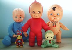 Vintage dolls. I have this little red one:)