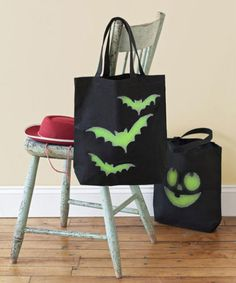 The only thing better than a trick-or-treat bag full of candy is a trick-or-treat bag full of candy that illuminates at night. All you need is a stencil and glow-in-the-dark paint.