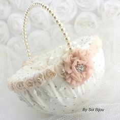 ***Made Upon Request This flower girl basket and ring bearer pillow set can be made in ANY color scheme.  This listing is for 1 ring bearer pillow and