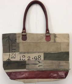 Mona B Arrow Canvas Bag Recycled Purse New Tote With Tags