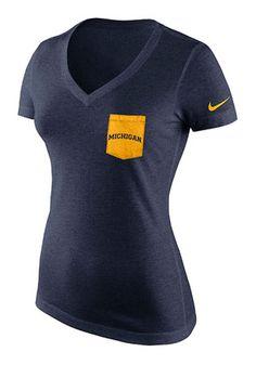 Nike Michigan Womens Navy Blue Pocket V-Neck